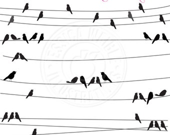 Bird on a Wire Cute Digital Clipart - Commercial Use OK - Black Bird Clipart, Birds on High Wire, Bird Silhouette