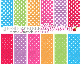 Pretty Party Polka Dots Cute Digital Papers - Commercial Use OK - Party Polka Dot Backgrounds, Polka Dotted Papers