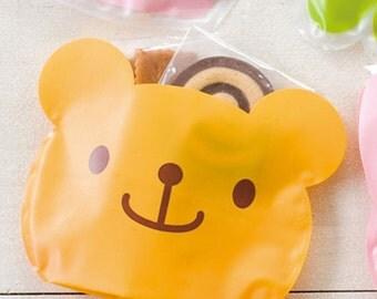 2 Smile Plastic Bags - Orange Bear (6.3 x 4.9in)