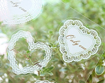 18 White Lace Heart Stickers (1.4 x 1.4in)