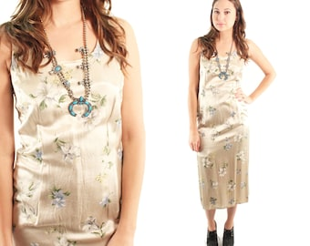 AMBER 90s Silky Sleek Floral Taupe Fancy Formal Grunge Jumper Maxi Dance Homecoming Prom Dress Gown Tank Indie Earthy Boho Rad Small Medium