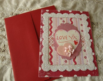 Valentine's Day Card for friend paper art I love you Shabby Chic Pink white red polka dots card distressed glittered valentine's Day Card