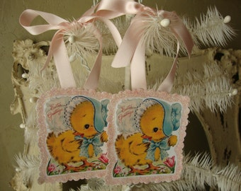Easter Chic gift tags glitter ornaments vintage easter chicks card scrap glittered pink glitter cute animals vintage home decor pink easter