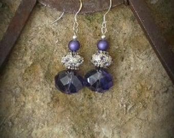 Purple Crystal Sterling Silver Earrings, Purple Sterling Silver Earrings, Lavender Crystal Sterling Silver Earrings