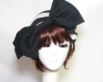 Turban Hat Bow, Borderline Hat, Black & White Striped Knit Turban Bow, Beret Hat Bow, Beret Bow, Black and White Beret Bow