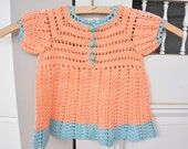 Vintage Crochet Baby Dress Vintage Peach Crochet Baby Clothes Size 0-3 Months