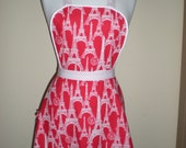 Vintage handmade style full apron red white Eiffel tower print NEW cotton Great for kitchen teas and hens nights