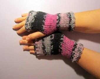 Fingerless Gloves - Black, Grey, Pink Striped Hand Knit Fingerless Gloves