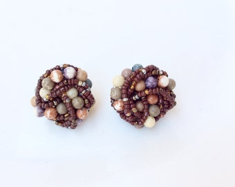 vintage clusters earrings earthy tones beaded clip on earrings