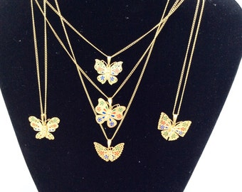 Adorable butterfly necklace gold tone small butterfly with colorful wings