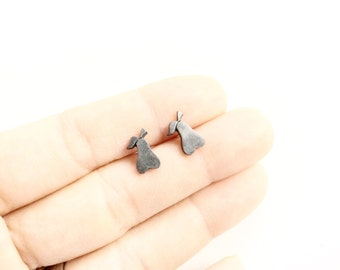 little tiny pears earrings small pewter pears studs earrings pierced studs pears earrings