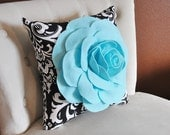 Decorative Pillows Aqua Blue Rose on Black and White Damask Accent Pillow Couch Bed Sofa Black & White Pillow