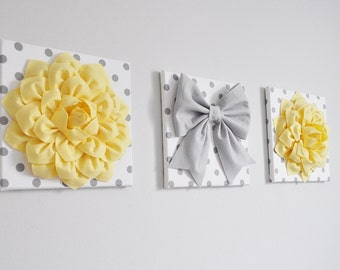 Yellow And Gray Wall Decor baby girl nursery wall decor large gray bows and light