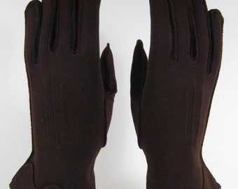 5-1/2-Vintage Womens Brown Dress/Church/prom Gloves  - 9-1/2 inches long(568g)