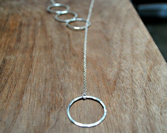 Long Silver Lariat Necklace - Cycles