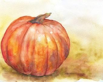 Pumpkin Watercolor Painting 11 x 14 - Giclee Print - Autumn Fall Decor