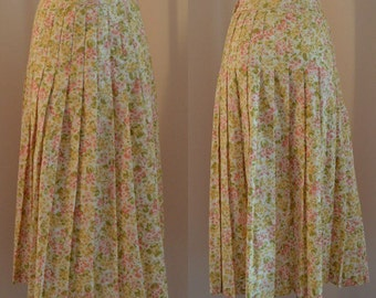 Vintage Skirts, Vintage Laura Ashley, Laura Ashley, Floral Skirt, Pleated Skirt, 1980s, Summer Skirt, Skirts, Cotton Skirt