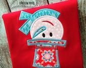 Snowman hat applique embroidery design