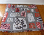reserved for katie!! 1950s Atomic Print Grey and Red Leaves Barkcloth 1.6 Yards