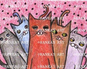 CAT ART ORIGINAL drawing 2 x 3inch