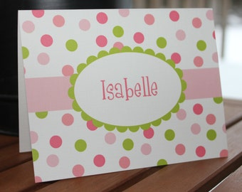 Polka Dot Personalized Printed Note Cards - Baby Shower, Birthday, Thank You - Additional Colors Available - Boy or Girl