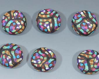 Six Polymer Clay Pebble Shaped Beads in Multi-Colors