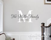 Family Name Decal - Personalized Family Wall Decal Name Monogram - Vinyl Wall Decal Family Wall Decal Wedding Gift
