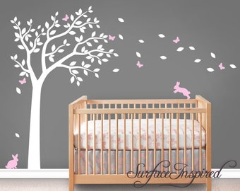 Wall Decal Nursery Wall Decals Tree Decal With Adorable Bunnies and Butterflies
