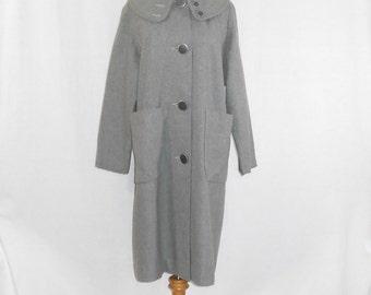Vintage Coat Womens Coats Art Deco Coat Grey Wool Coat Cowl Neck Coat Womens Vintage Clothing
