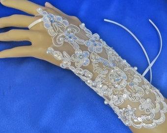 Bridal Rhinestone Gloves, Formal Lace Gloves, Bridal Lace Gloves, White Lace Gloves, Formal Wedding Gloves,  Bridal Gloves