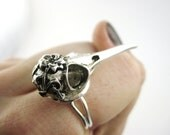 Silver Bird Skull Ring - Macabre Jewelry - Crow Raven Ring - Steampunk Bird Skull Jewelry Hummingbird