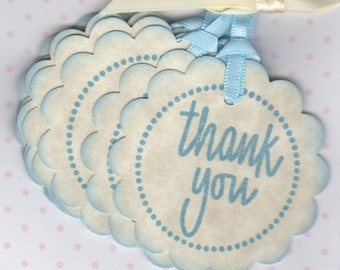 Baby Shower Thank You Tags / Gift Tags / Nail Polish Favor Tags / Labels / New Baby / Baby Boy Tags / Blue / Set of 20  - Vintage Style