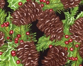 Pine Cones on Black - Moda - 1 yard - More Available - Must Go - BTY