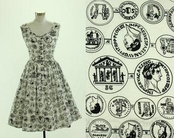1950's Roman Coin Novelty Print Dress S M Serbin Cotton Caesar Augustus