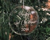 Premier Round Crystal Christmas Ornament, 2nd Christmas, Engraved Christmas Ornament