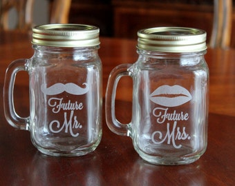 2 Mason Jars Mugs, Future Mr and Mrs  lips mustache, Personalized Mason Jar Mugs, Engraved Mason Jar Mugs, Engaged Couple Gift, Shower Gift