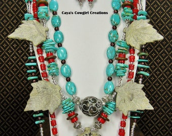 SOUTHWEST BOHO GYPSY Cowgirl Necklace / Statement Howlite Turquoise / Coral Jewelry - BoHo SPLenDoR