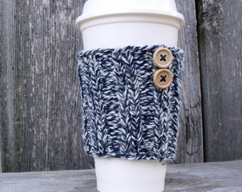 Coffee Cup Sleeve in Marled White and Denim Blue with Two Natural Wood Buttons, Coffee Cup Cozy, Coffee Mug Cozy, Travel Mug Cozy, BlueWhite