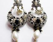 Bridal Pearl Earrings,Victorian earrings-Black and Gold jewelry-wedding earrings- handmade bridesmaids gift by TANEESI XE235P