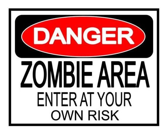 Halloween Danger Zombie Area yard sign poster print