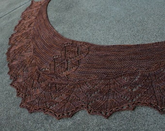 Woodland Coffee Colored Hand Knitted Pure Merino Wool Lace Crescent Shaped Shawlette or Shawl