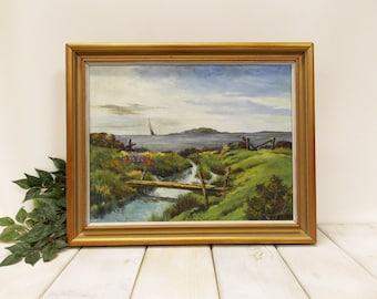 Original Coastal Waterfront Oil Painting-- Natural and Rugged Coastal Scene--