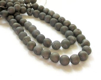 """Druzy Titanium Rock Beads - Silver Gray - Pixie Dust Coated - Open Mouth Round Ball Druzy - Semiprecious - 12mm - 7.5"""" Strand - DIY Necklace"""