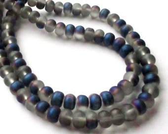 "Metallic Unpolished Matte Beads - Rondelle Beads - Blue Gray Purple Glass Beads - Center Drilled - 16"" - 8mm x6mm - DIY Jewelry Projects"