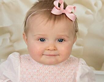 Light Pink Baby Bow Headband, Baby Headband, Pink Hair Bow, Newborn Headband, Light Pink Headband, Baby Pink Boutique Bow Headband