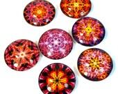Colorful Pink Orange Fridge Magnets, Mandala Art, Fiery Colors, Handmade Gift ideas, New Age