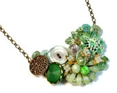 Repurposed Vintage Mint Green Necklace Statement, Green Bib Necklace, Mint Wedding, Wearable Art, Upcycled