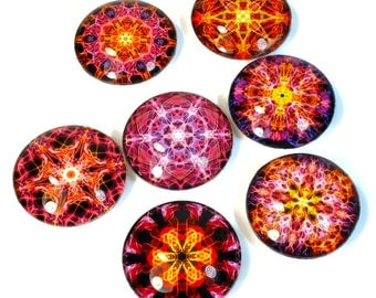 Colorful Pink Orange Fridge Magnets, Mandala Art, Fiery Colors, Handmade Gift ideas, New Age