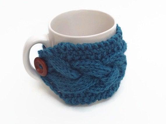 Knitted Mug Warmers Pattern : mug cozy knitted mug warmer blue cup cozy