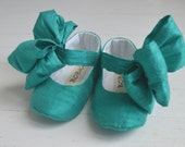 Silk Mary Jane Shoes With Large Bow Tiffany Blue by Bobka Baby